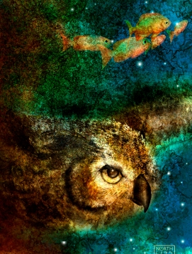 Detail -Gaia, Mother Earth - detail of fish & owl