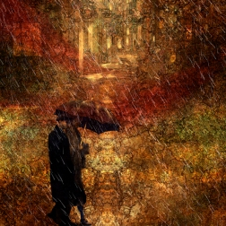 COUPLE IN THE RAIN. - 18x24